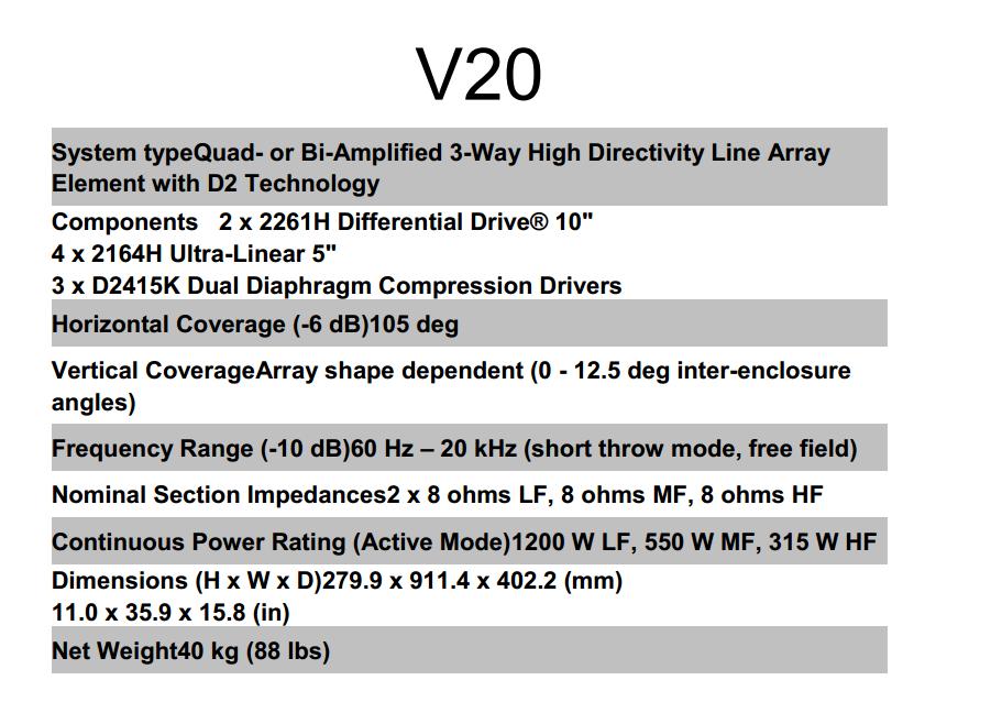 VTX V20 line array system